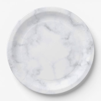 White Marble Paper Plate
