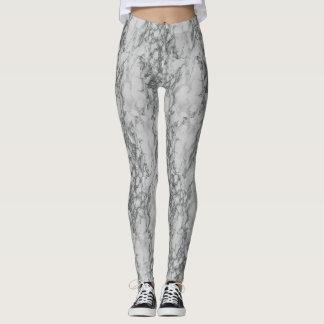 White Marble Print Leggings