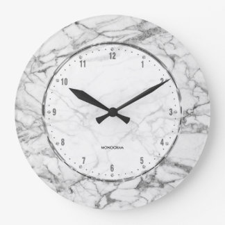 White Marble Print With Gray Crackles Large Clock
