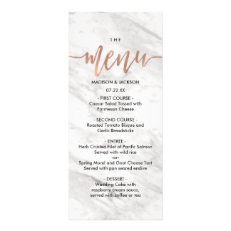 White Marble & Rose Gold Elegant Wedding Menu