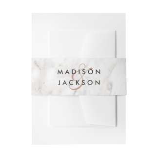 White Marble & Rose Gold Elegant Wedding Monogram Invitation Belly Band