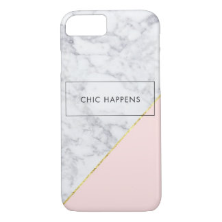 White Marble, Rose Gold iPhone 7, Barely There iPhone 7 Case