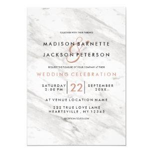 Gold wedding invitations zazzle white marble rose gold modern wedding invitations junglespirit Images