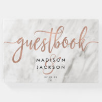 White Marble & Rose Gold Modern Wedding Monogram Guest Book