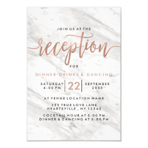 White Marble & Rose Gold Modern Wedding Reception Invitation