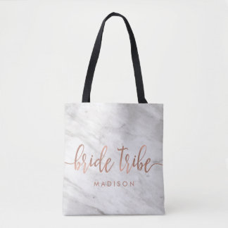 White Marble & Rose Gold Monogram Bride Tribe Tote Bag