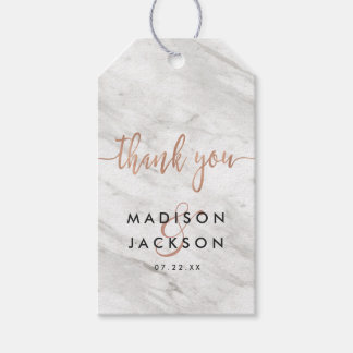 White Marble & Rose Gold Wedding Thank You Gift Tags
