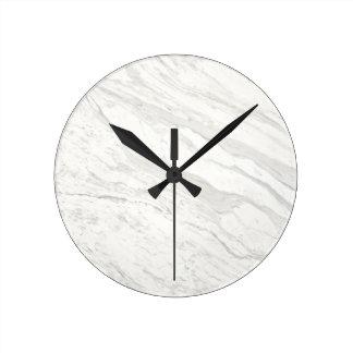 White Marble Round Clock