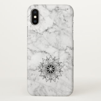 White Marble Stone Accented With Black Mandala iPhone X Case