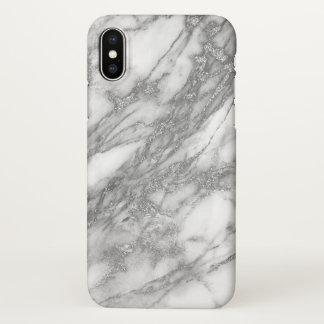 White Marble Stone And Gray Glitter iPhone X Case