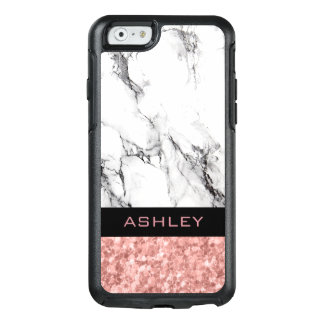 White Marble Stone And Rose Gold Glitter OtterBox iPhone 6/6s Case