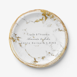 White Marble Stone Carrara Gold Metallic Wreath Paper Plate