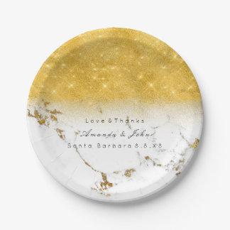 White Marble Stone Carrara Golden Glitter Minimal Paper Plate