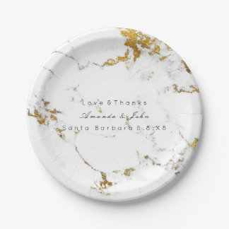 White Marble Stone Carrara Golden Strokes Minimal Paper Plate