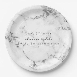 White Marble Stone Carrara Gray Silver Minimal Paper Plate