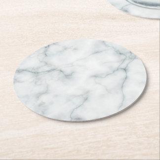 white marble stone round paper coaster