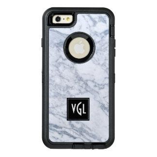 White Marble Texture Black Accent Monogram OtterBox Defender iPhone Case