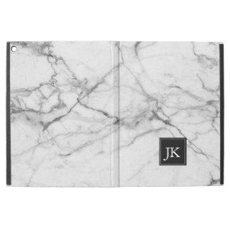 "White Marble Texture Monogram iPad Pro 12.9"" Case"