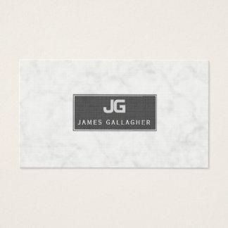 White Marble UPSCALE BLACK Monogram Minimalist Business Card