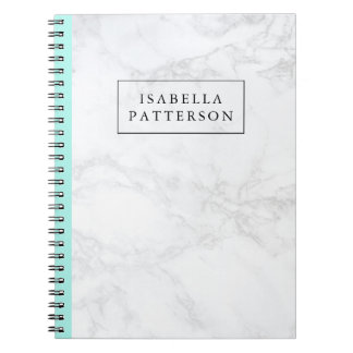 White Marble with Aqua Blue Accent Personalized Spiral Notebook