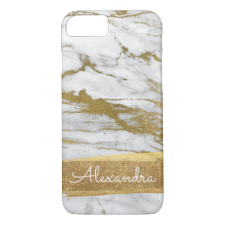 White Marble with Gold Foil and Glitter iPhone 8/7 Case