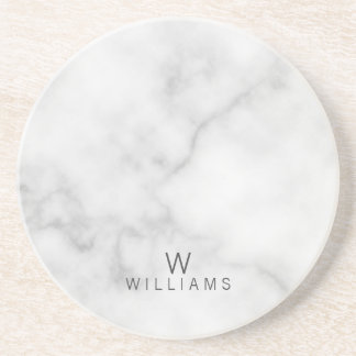 White Marble with Personalized Monogram and Name Coaster