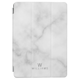 White Marble with Personalized Monogram and Name iPad Pro Cover
