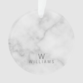 White Marble with Personalized Monogram and Name Ornament