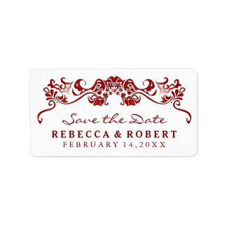 White & Maroon Red Fancy Save the Date Label