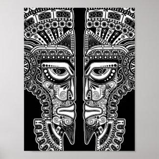 White Mayan Twins Mask Illusion on Black Poster