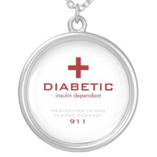 White Medical Alert, Diabetic Silver Plated Necklace
