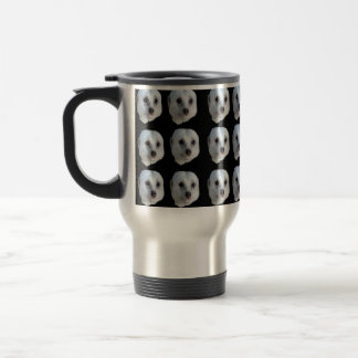 White Meerkat Faces On Black, Travel Mug
