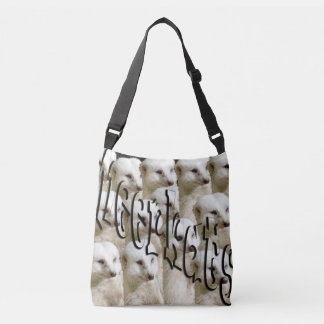 White Meerkats And Logo, Full Print Cross Body Bag