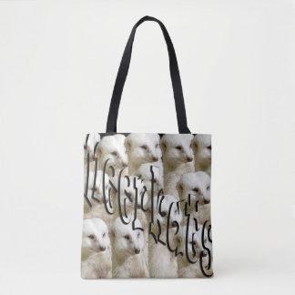 White Meerkats And Logo, Full Print Shopping Bag