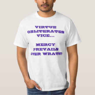 WHITE 'MERCY WRATH VIRTUE VICE' T-SHIRT