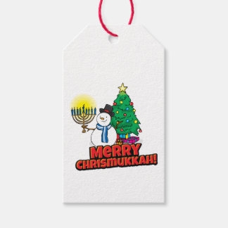 """White """"Merry Chrismukkah"""" Gift Tags"""
