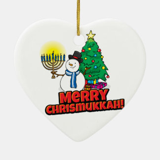 White Merry Chrismukkah with Snowman and Menorah Ceramic Heart Decoration