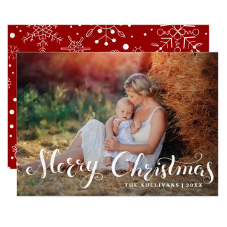 White Merry Christmas Script Holiday Photo Card