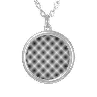 White Mesh Moire Round Pendant Necklace