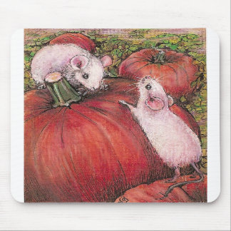 White Mice in the Pumpkin Patch Mousepads