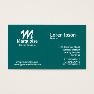 White Middle Rule Monogram - Teal Business Card