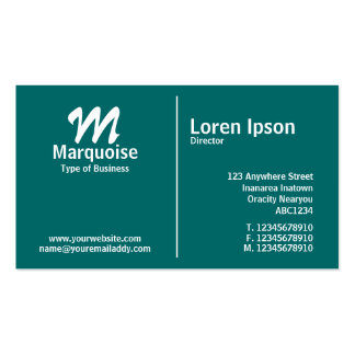 White Middle Rule Monogram - Teal Business Card Templates