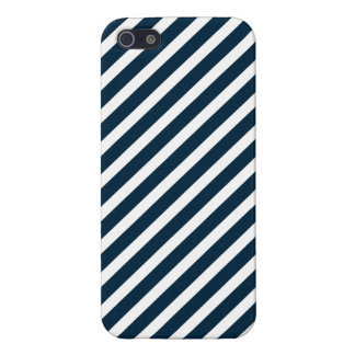 White & Midnight Blue Candy Cane Christmas Stripes Cases For iPhone 5