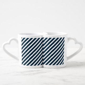 White & Midnight Blue Diagonal Candy Cane  Stripes Couples Mug