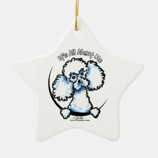 White Miniature Toy Poodle IAAM Christmas Ornament