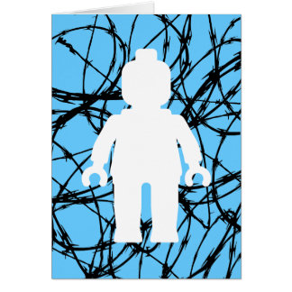 White Minifig in front of Barbed Wire Greeting Card