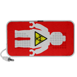 White Minifig with Radioactive Logo Mini Speakers