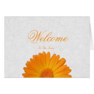White Minimal Yellow Daisy Welcome Wishing Card