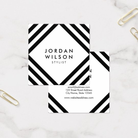 White Minimalist Black Square Lines Geometric Square Business Card