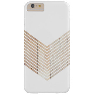 White Minimalist chevron with Wood Barely There iPhone 6 Plus Case